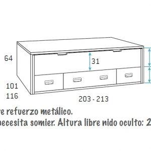 COMPOSICION DE DOBLE CAMA CON ARMARIO F601
