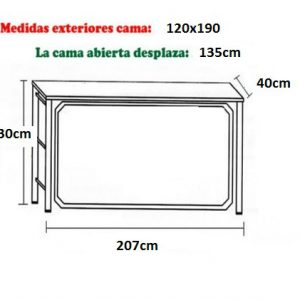 CAMA ABATIBLE HORIZONTAL CMB 135×190.*