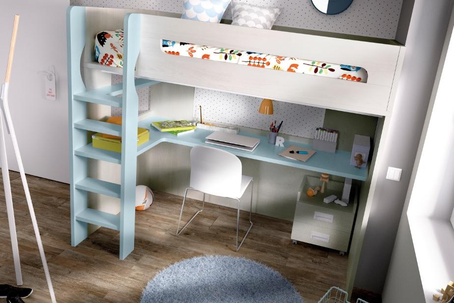 Cama alta con escritorio rmb303 - Cama con escritorio abajo ...