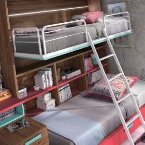 Cama abatible con librería y cama inferior